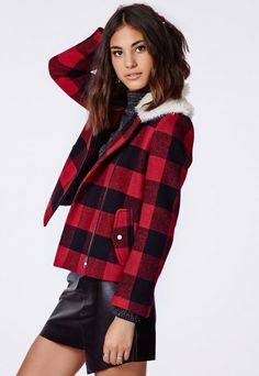 MissGuided Millicent Lumberjack Shearling Collar Biker Jacket Red Check | Sale originally $80.00 NOW $50.00 | #Chic Only #Glamour Always