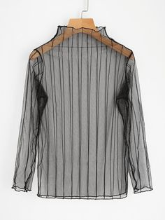 Long Sleeve Blouses. Top Decorated with Sheer. Designed with Band Collar. Regular fit. Perfect choice for Sexy wear. Trend of Spring-2018, Summer-2018. Designed in Black.