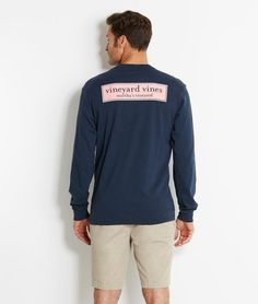 Men's T-Shirts: Long-Sleeve VV Rectangle Logo Graphic T-Shirt for Men - Vineyard Vines