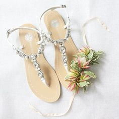 SOMETHING BLUE sole Oval Crystal Pearl White Beach Wedding Bridal Sandals Shoes #BellaBelle #TStrap