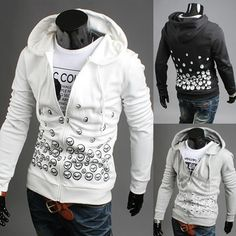 Print Slim Fit Zip Up Mens Hoodie  2629e5d8f451