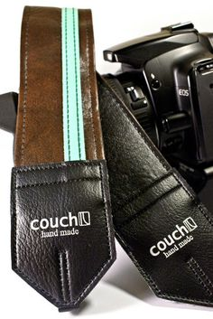 Brown and Aqua Racer X camera strap  Upcycled by couchguitarstraps, $24.95