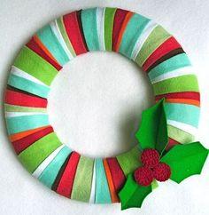 Felt Christmas Wreath - kids doors...in their room colors