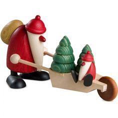 Weihnachtsmann mit Schubkarre und Kind 19 cm