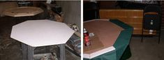 How to Build a Poker Table - Step by Step Instructions Poker Table Diy, Poker Table Plans, Octagon Poker Table, Pine Trim, Table Cards, Card Tables, Minwax Stain, Plywood Sheets, Leather Texture