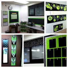 Black, white and green polka dot classroom. I couldn't live with the green...Maybe pink...or blue...but not the green.