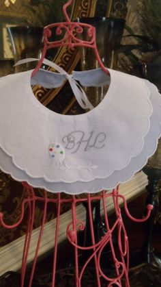 Monogrammed Blue and White Double Scalloped Cotton by Zadabug, $14.00