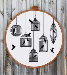 bird cage silhouette cross stitch pattern