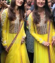 Buy yellow  embroidered satin semi-stitched salwar with dupatta bollywood-salwar-kameez-online online