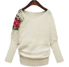 Winter Women's Sexy V Neck Long Sleeves Hollow Floral Pullover Striped Street Style Fashion Sweaters