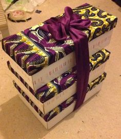 Ankara Gift Boxes made with fabric & shoe boxes