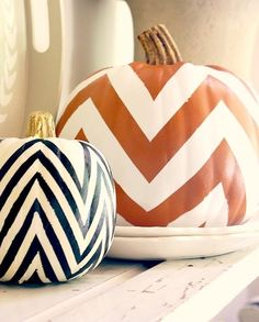 Festive Fall Decor - DIY Chevron Pumpkin Could do this with tape to paint straight lines then remove paint when dry for flawless chevron lines.