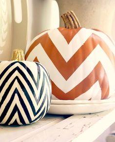 Festive #Fall #Decor - #DIY #Chevron #Pumpkin