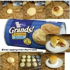 Ok busy mom's and dad's here is a quick easy breakfast muffin that tastes amazing!! I used bacon, eggs, and cheese but feel free to mix anything you like! (be sure to spray cupcake pan with non stick spray before putting muffins in. Bake at 350 for 15-25 minutes or until brown) enjoy :-)