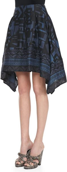 Donna Karan Printed Pointed Scarf Skirt, Old Indigo/Black