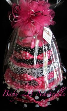 Baby Diaper Cake 4 tiers Hot Pink Damask. $157.00, via Etsy. #babyshower #diapercake