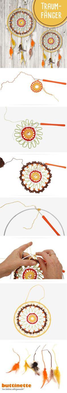 Häkelanleitung für einen Traumhaften Traumfänger bei uns im Blog.   #häklen #Anleitung #Traumfänger #DIY #Deko #crochet #Boho