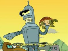 Bender with his turtle. No one insults the turtles!