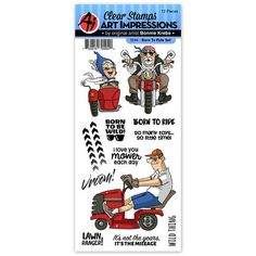 Art Impressions - Work and Play Collection - Clear Photopolymer Stamp Set - Born To Ride Essential Oils For Fleas, Bicycle Party, Art Impressions Stamps, Cool Inventions, Simon Says Stamp, Digi Stamps, Scrapbook Cards, Scrapbooking, Clear Stamps