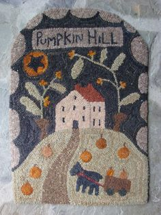 Primitive Hooked Rug Pumpkin Hill Saltbox Fall Autumn |myglorystars on eBay