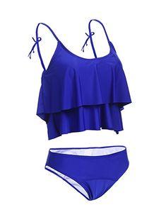 7615e641de Amazon.com  Imposes 2 Pcs Bathing Suits Womens Cute Ruffles Strap Swimsuit  Crop Top