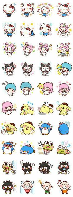 Hello Kitty characters, text, emojis; Kawaii
