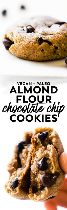 Easy and healthy Almond Flour Chocolate Chip Cookies with 7 ingredients, naturally sweetened, and loaded with chocolate chips! #vegan #paleo #cookies