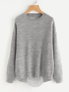 Oversize knitted ladder distressed sweater