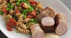 Medister af kyllingekød og pastasalat