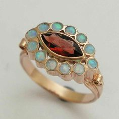 Gold gemstones ring - 14K Rose gold statement ring with blue opals and garnet  - Explore .