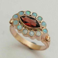 14K Rose gold ring, statement ring, blue opals ring, red garnet ring, gemstones gold ring, engagement ring, Victorian ring - Victoria .