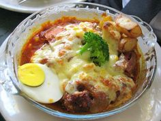 Mix Curry BK Rice ($11.90) was devilishly indulgent, with grilled chicken and pork cutlets, ham, hotdogs all slathered generously with cheese and baked till a golden brown. A few fried potatoes, one lonely broccoli floret and hard boiled egg completed the artery-clogging dish.
