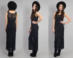 vintage 90s crochet maxi dress