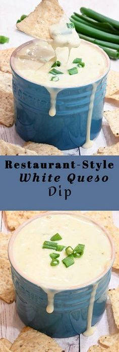 White Queso Dip a creamy cheese dip is the perfect, easy appetizer recipe that contains just 5 ingredients and is ready in 10 minutes! Easy Appetizer Recipes, Yummy Appetizers, Dip Recipes, Appetizers For Party, Sauce Recipes, Mexican Food Recipes, Cooking Recipes, Vegan Recipes, Sauces