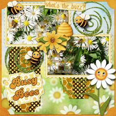 Busy Bees by smikeel. Kit: Bee Yourself by Carole's Share the Luv http://scrapbird.com/designers-c-73/a-c-c-73_514/caroles-share-the-luv-designs-c-73_514_518/bee-yourself-p-18022.html