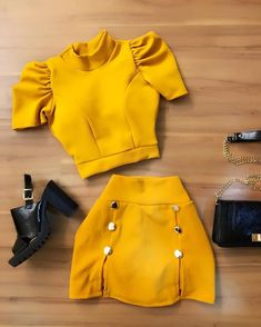 Cute Yellow Look / Only Me 💋💚💟💖✌✔👌💙💚 xoxo Teenager Outfits, Outfits For Teens, Summer Outfits, Classy Outfits, Stylish Outfits, Fashion Pants, Fashion Dresses, Indian Designer Outfits, Skirt Outfits