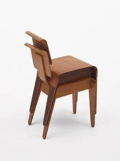 """Side Chairs       Marcel Breuer (American, born Hungary. 1902–1981)                                              1936-37. .1: Walnut and birch plywood .2: Birch plywood, 29 1/4 x 15 3/4 x 15 1/2"""" (74.3 x 40 x 39.4 cm). Manufactured by The Isokon Furniture Company, London"""