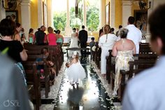 Destination wedding Grand Palladium Riviera Maya, beautiful traditional Catholic ceremony in the onsite church. (And cute flower girl!)  Mexico wedding photographers Del Sol Photography