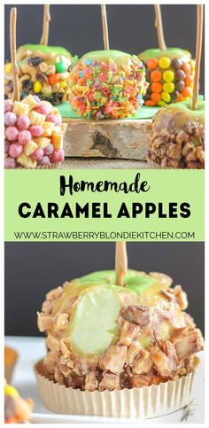 These Caramel Apples are a cinch to make and even better can be personalized to suit everyone in your family! Whether fruity, sweet and salty, peanut butter or toffee is your pleasure, these caramel apples will please any taste bud! They're easier than you think and will have you wondering why you've purchased the store bought kind all these years! | Strawberry Blondie Kitchen