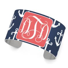 "Monogrammed Cuff Bracelet Nautical Navy Anchor Pattern Lightweight Aluminum Width 1.5"" Multiple Options  Make sure you leave a note during check-out including: - the color you would like as the background for your monogram,  - the style of monogram you'd like,  - your initials,  - and the order of your initials.  We wil..."