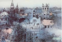 Ashmolean Museum Christmas Cards featuring 'View of Oxford' by Liu Maoshan Watercolor Landscape, Watercolor Art, England And Scotland, Modern Art, Christmas Cards, Illustration Art, Oxford, Sketches, Art Prints