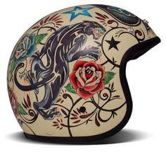 "DMD Vintage – ""Tattoo"" – designed by Gaetano Sole – ECE – Motorcycle Helmets Pinstriping, Retro Roller, Scooter Garage, Cool Motorcycle Helmets, Motorcycle Shop, Women Motorcycle, Helmet Tattoo, Retro Scooter, Vintage Helmet"