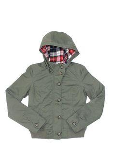 Olive Green Jacket with Plaid Hood – 30something Clothing
