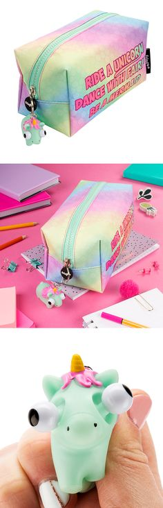 Super cute, girly unicorn and mermaid pencil case for kids and teenagers. Will store up to 110 writing essentials and other stationery goodies. For those of you who enjoy trendy touch - make sure you take advantage of our eye popper key ring not only super cool but also very practical. More designs available on www.fringoo.co.uk
