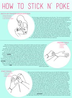 I made this how-to guide for anyone who wants to learn how to stick n' poke. You can download it here! Stick n poke