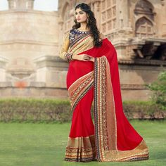 Buy Red Patch Border Work Georgette Saree for womens online India, Best Prices, Reviews - Peachmode