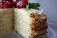Layer paper thin crepes and hold together with some type of cream cheese mixture and make a crepe-cake. Yummy Drinks, Yummy Food, Delicious Deserts, Just Desserts, Dessert Recipes, Savory Crepes, Crepe Cake, Crepe Recipes, Cake Fillings