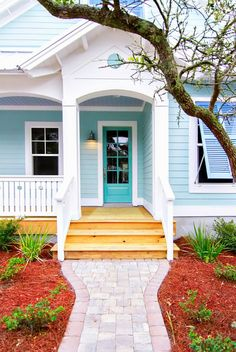 beach cottage style Bungalow House: An American Classic Cottage Exterior Colors, Exterior Paint Colors For House, Paint Colors For Home, Beach Cottage Exterior, Paint Colours, Florida Homes Exterior, Outside House Paint Colors, Bungalow Exterior, House Of Turquoise