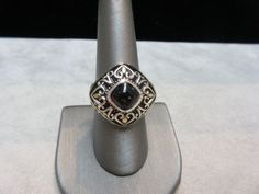 $75 Beautiful-Thailand-RJ-Onyx-Sterling-Silver-14k-Gold-trim-Womens-Ring-size-8-5