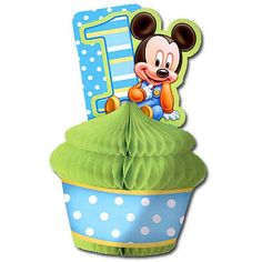Mickey Mouse Baby 1st Birthday Party Disney Centerpiece Table